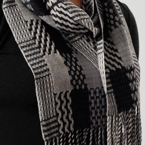 Patterns and Rectangles Scarf in Black, White, and Gray